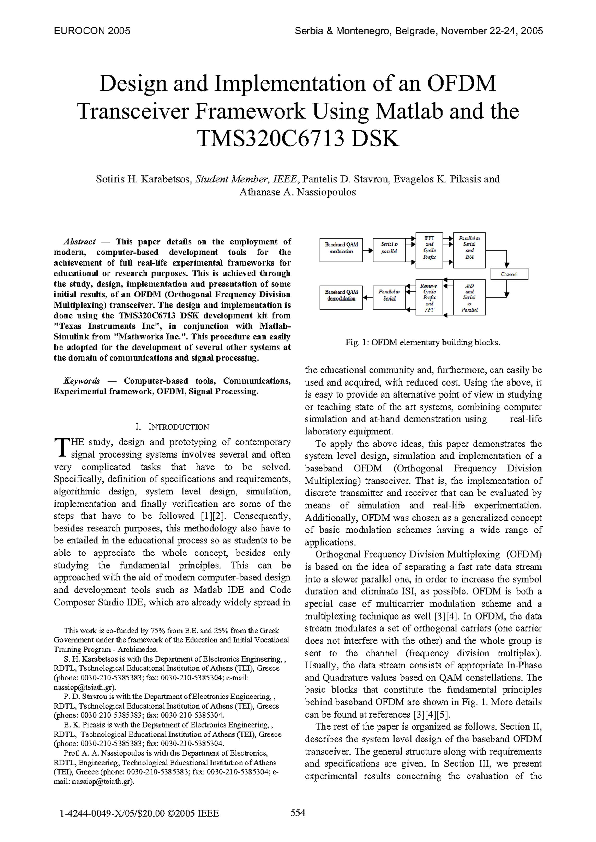 PDF) Design and Implementation of an OFDM Transceiver