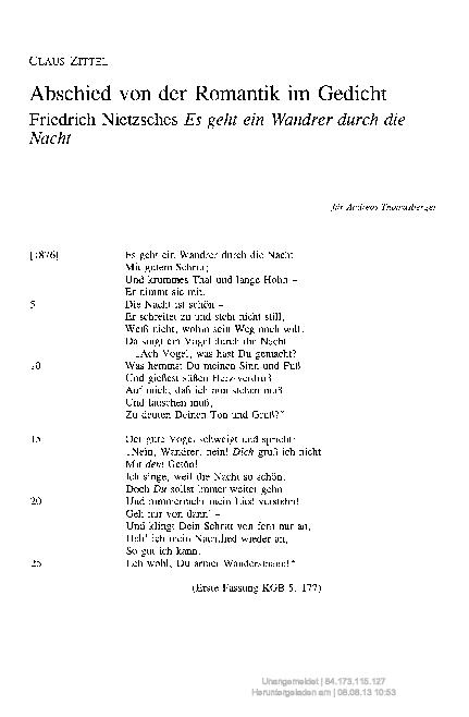 Abschied Von Der Romantik Im Gedicht Claus Zittel