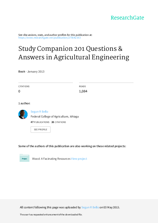 PDF) Study Companion 201 Questions & Answers in Agricultural