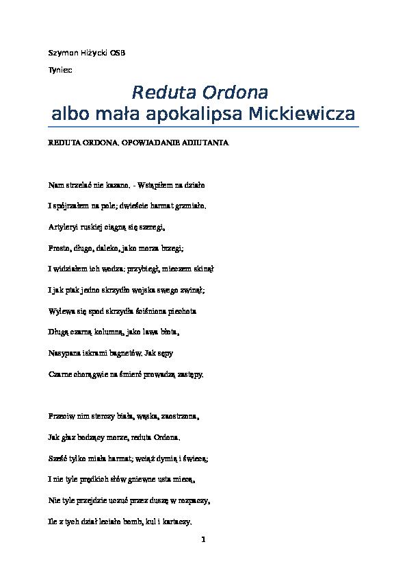 Doc Reduta Ordona Albo Nowa Eschatologiamickiewiczadocx