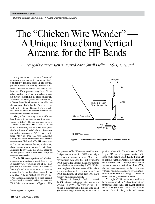 PDF) The Chicken Wire Wonder A Unique Broadband Vertical