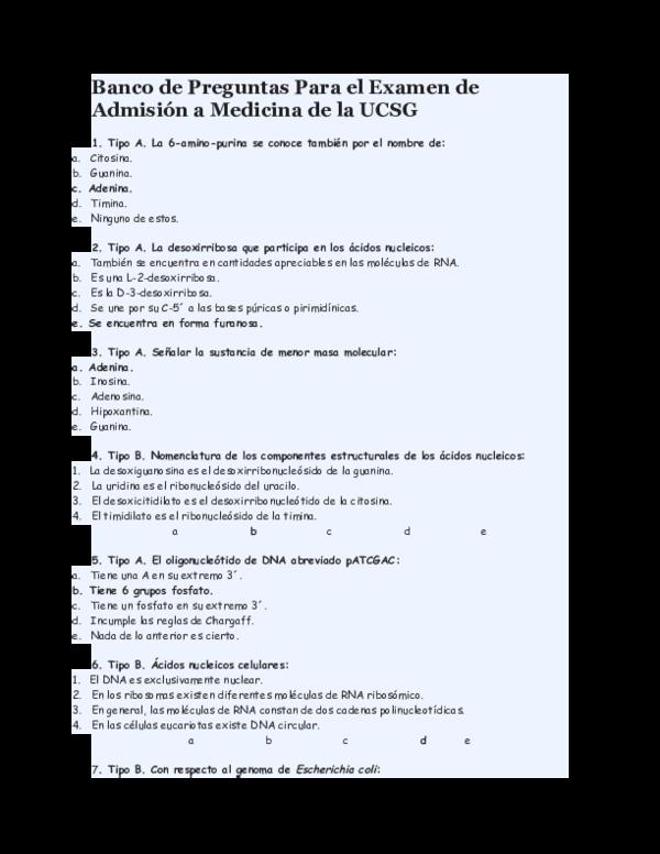 Doc Banco De Preguntas Para El Examen De Admision A Medicina De La Ucsg Lu Arriaga Academia Edu