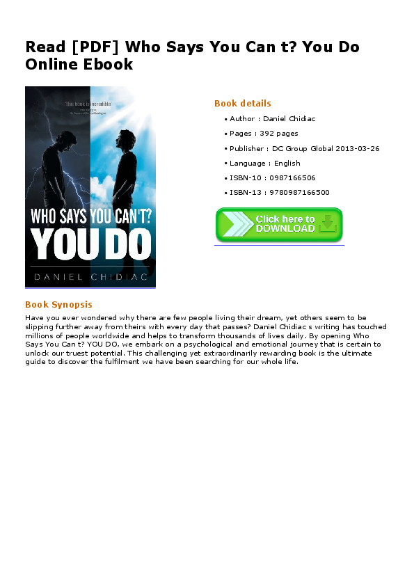 Read Pdf Who Says You Can T You Do Online Ebook Neelam Mohnani