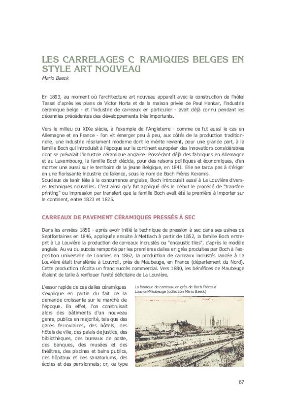 Pdf Les Carrelages Céramiques Belges En Style Art Nouveau