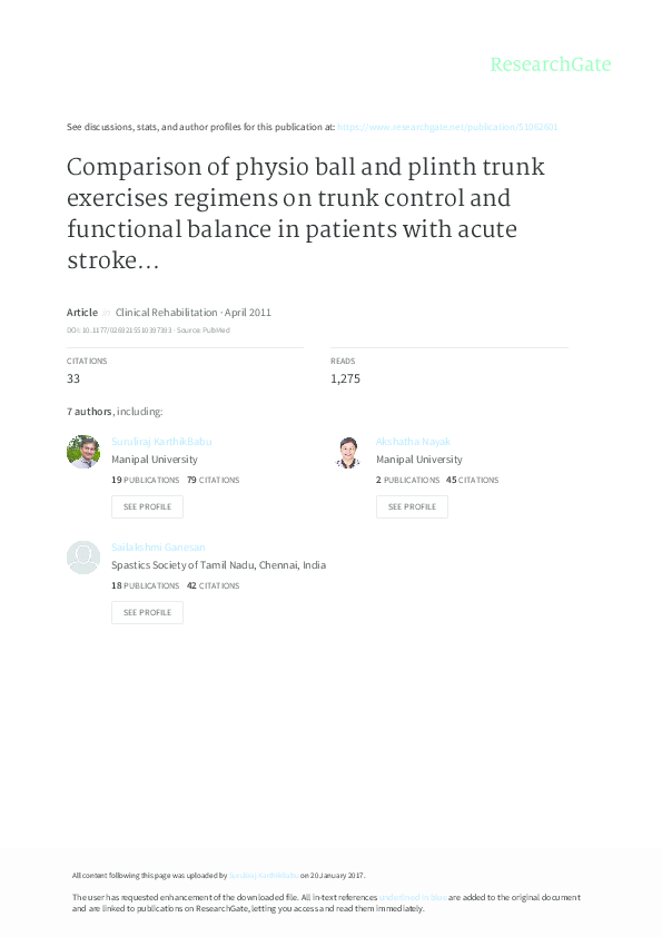 PDF) Comparison of physio ball and plinth trunk exercises