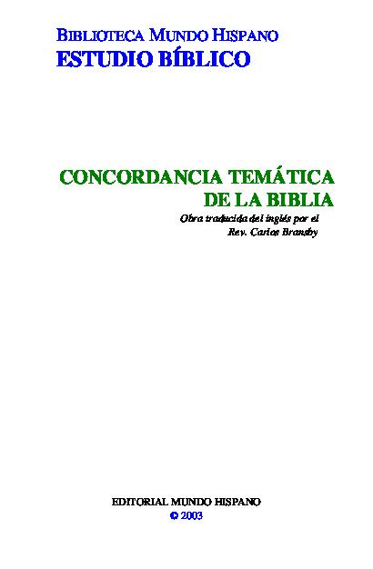 PDF) ESTUDIO BÍBLICO CONCORDANCIA TEMÁTICA DE LA BIBLIA