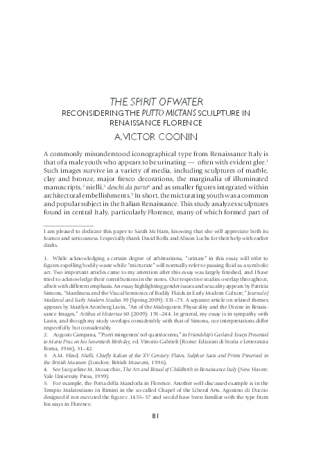 PDF) The Spirit of Water: Reconsidering the Putto Mictans Sculpture