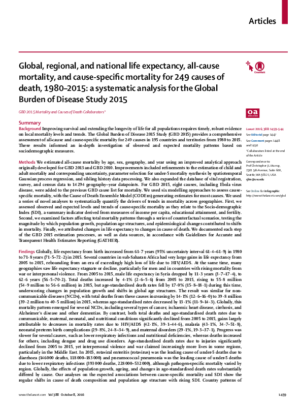 PDF) Global, regional, and national life expectancy, all-cause