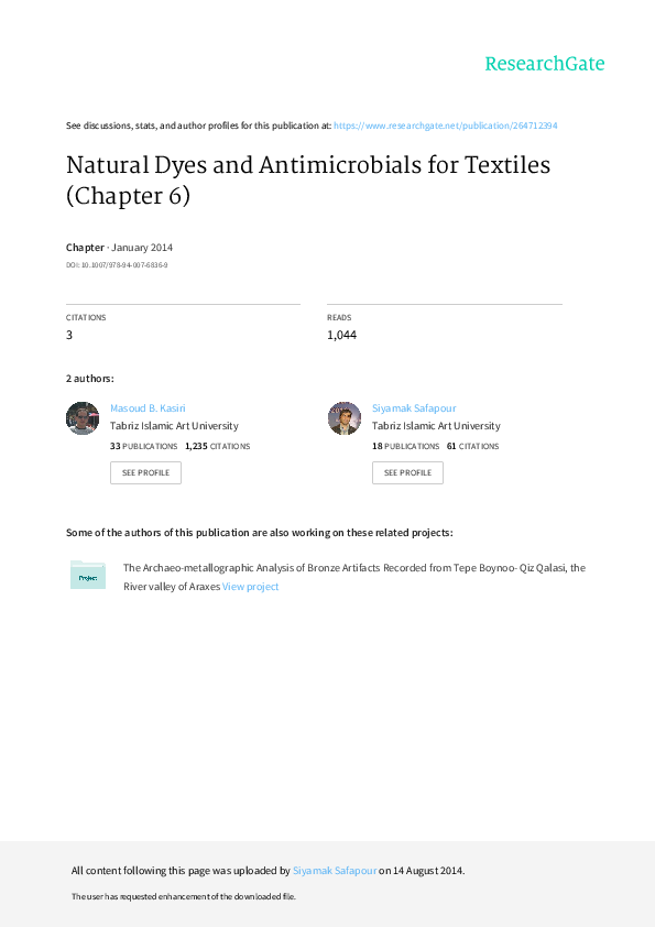 PDF) Natural Dyes and Antimicrobials for Textiles (Chapter 6
