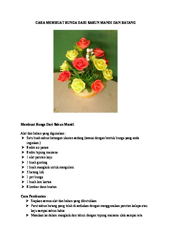 Doc Cara Membuat Bunga Dari Sabun Mandi Dan Batang Jaka Hasanudin Academia Edu