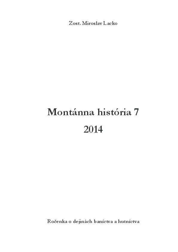 a38f43e814d5c PDF) Montánna história / Die Montangeschichte 7 (2014) | Miroslav ...
