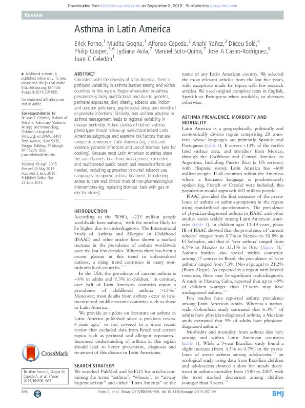 PDF) Asthma in LatinAmerica Thorax-2015 pdf | jose a castro