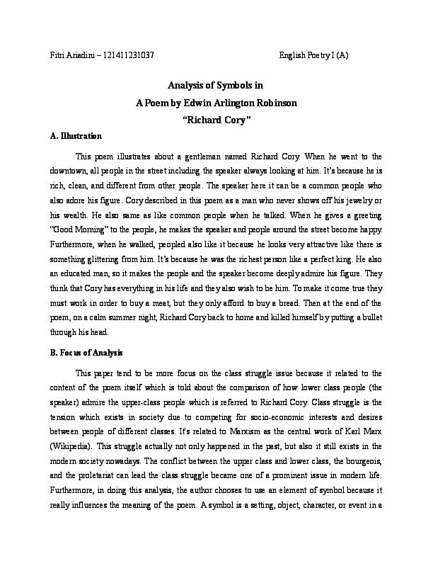 richard cory and miniver cheevy summary