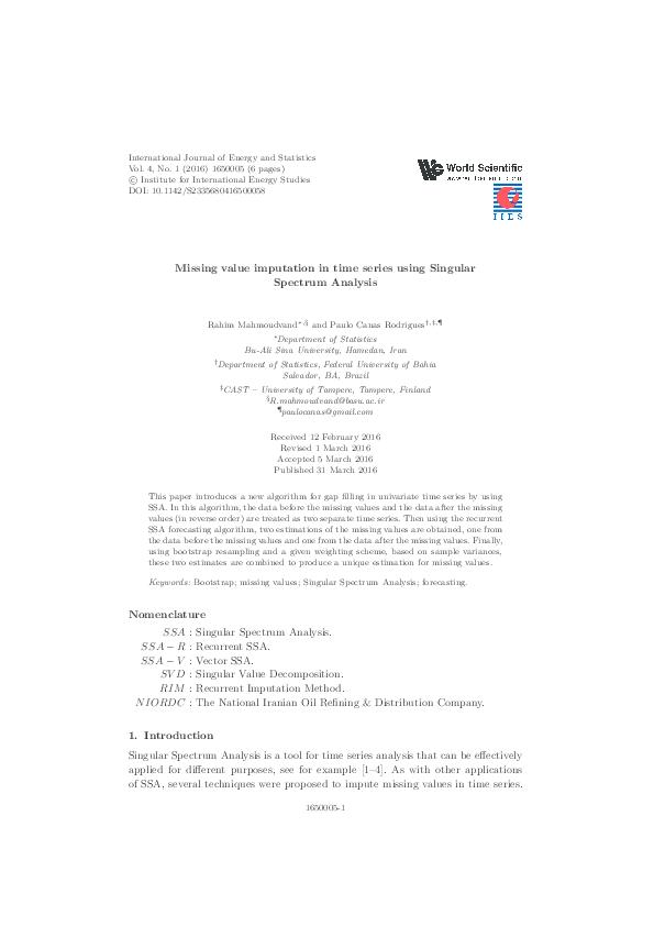 PDF) Missing value imputation in time series using Singular Spectrum