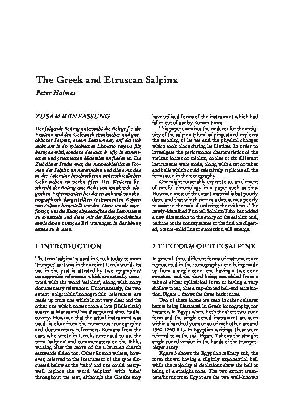 PDF) The Greek and Etruscan Salpinx | Pippa Holmes