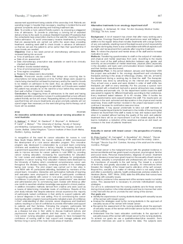 PDF) 8134 POSTER Sexuality in women with breast cancer – the