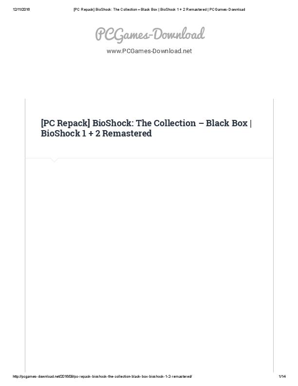 PDF) PC Repack Bio Shock The Collection Black Box Bio Shock 1 2