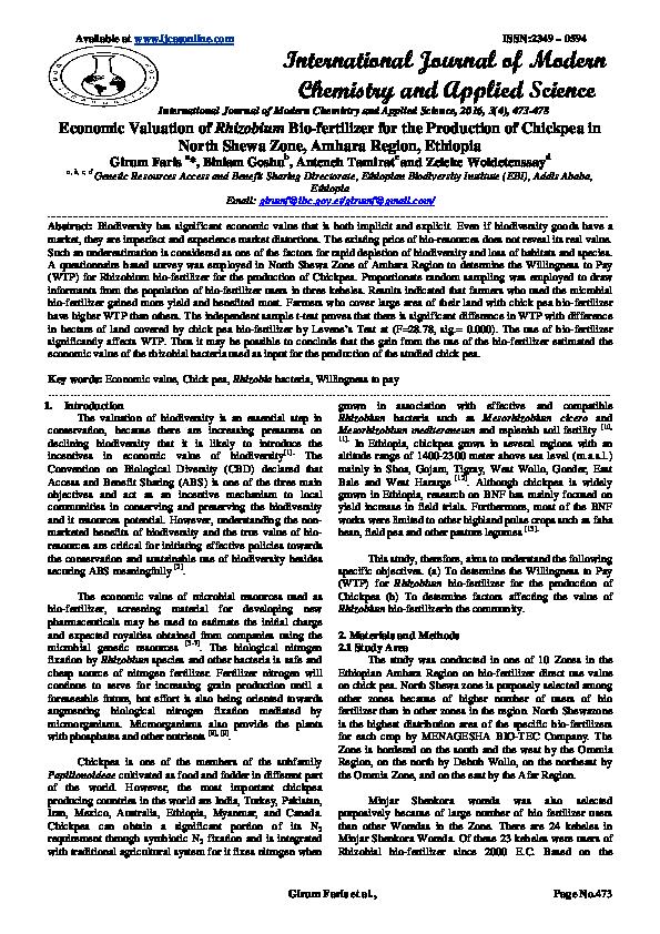 PDF) Economic Valuation of Rhizobium Bio-fertilizer for the