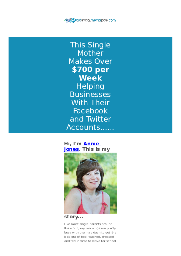 DOC) This Single Mother Makes Over $700 per Week Helping Businesses