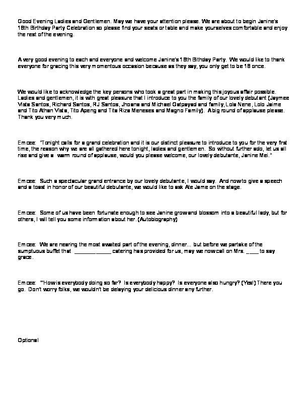 Emcee Script For Opening Prayer Sample Script Of An Emcee On