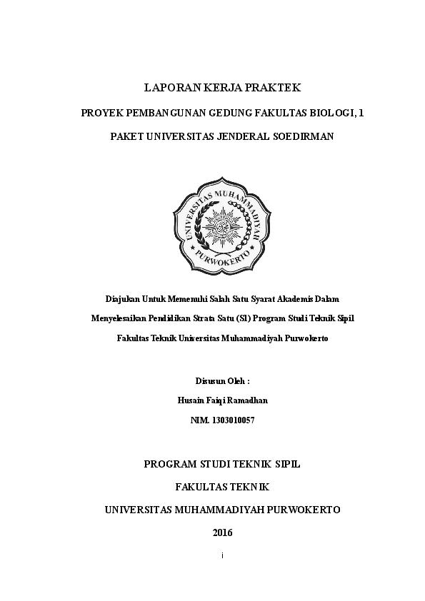 Contoh Laporan Praktek Kerja Lapangan Teknik Sipil