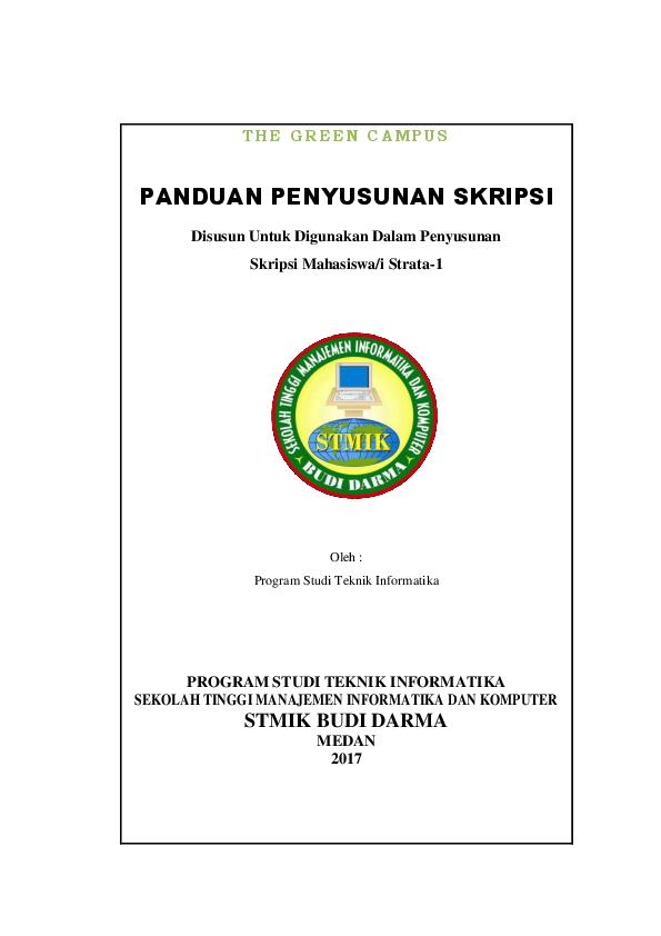 Pdf Panduan Penyusunan Skripsi Teknik Informatika Stmik Budi