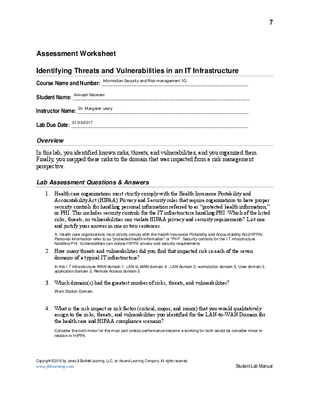 PDF) Student Lab Manual Assessment Worksheet Identifying