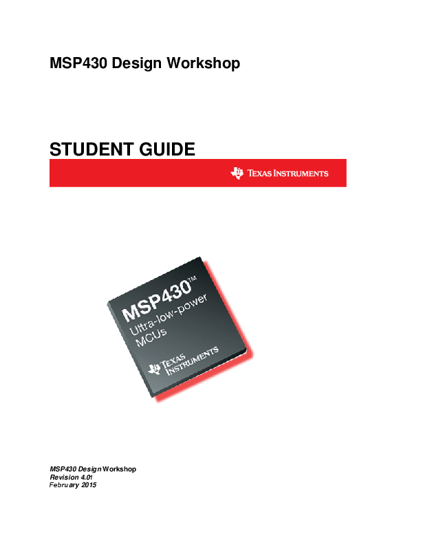 PDF) MSP430 Design Workshop STUDENT GUIDE | Thong Vu Duc