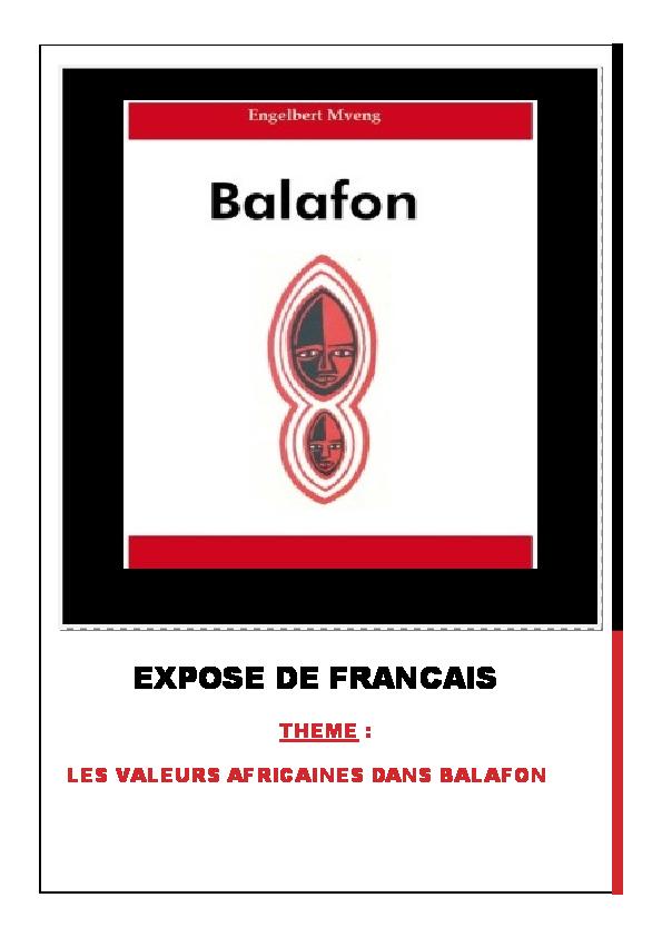 OEUVRE PDF TÉLÉCHARGER BALAFON