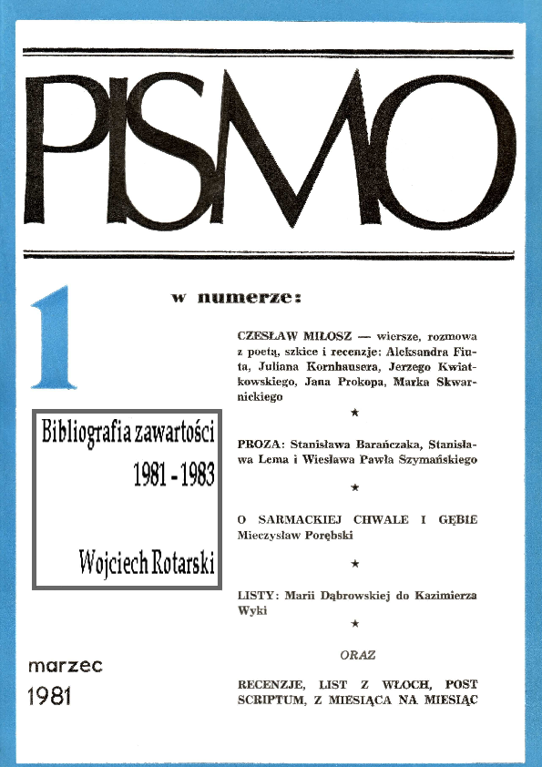 Pdf Pismo 1981 1983 Bibliografia Zawartości Częstochowa