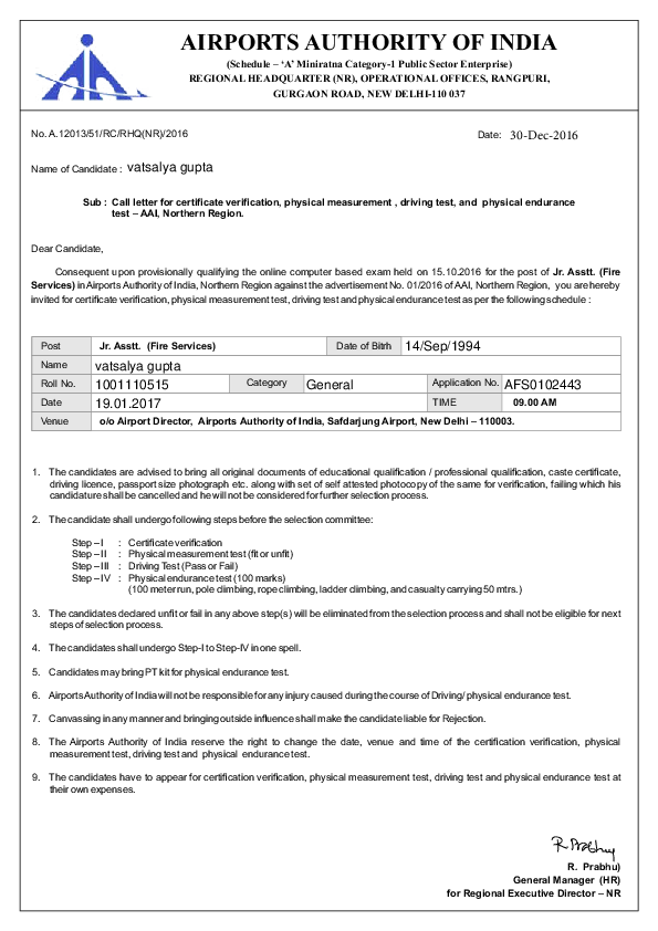 PDF) AIRPORTS AUTHORITY OF INDIA (Schedule – 'A' Miniratna