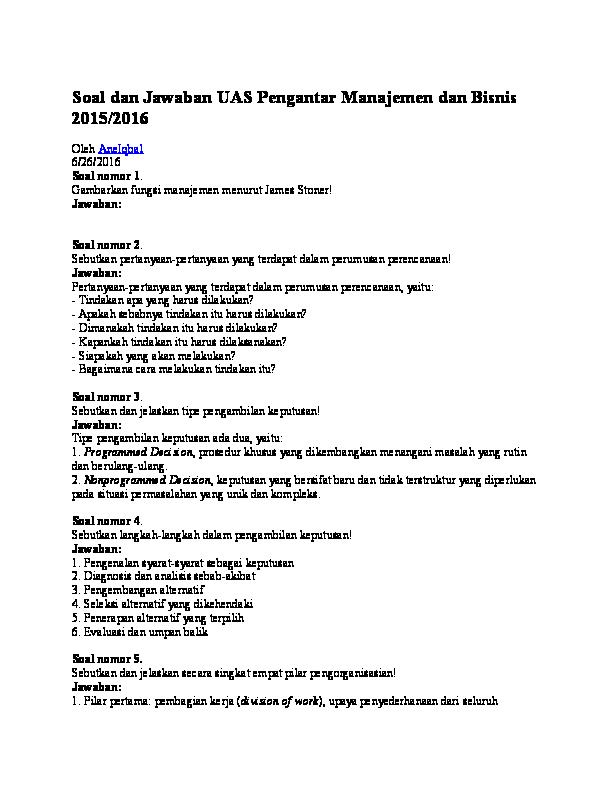 Contoh Soal Dan Jawaban Pengantar Akuntansi Semester 1 ...