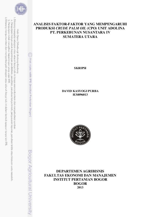 Analisis Faktor Faktor Yang Mempengaruhi Produksi Crude Palm Oil Cpo Unit Adolina Pt Perkebunan Nusantara Iv Sumatera Utara Skripsi David Kasyogi Purba H34096013 Lely Purnamahasibuan Academia Edu