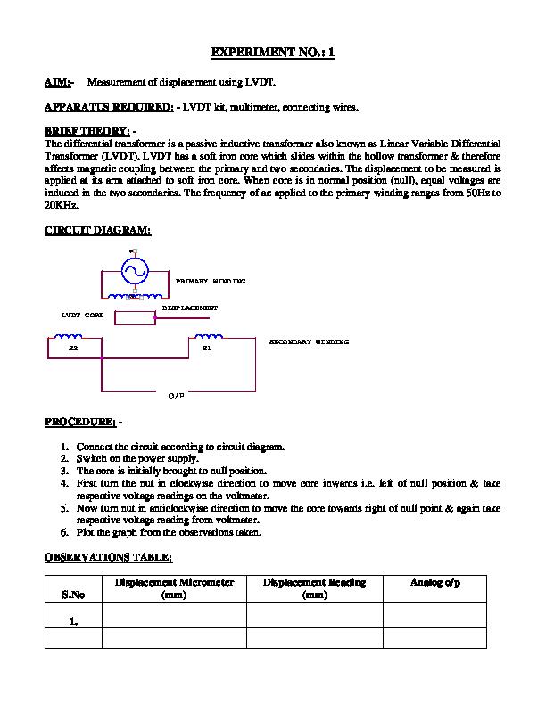 PDF) EXPERIMENT NO : 1 AIM:-Measurement of displacement