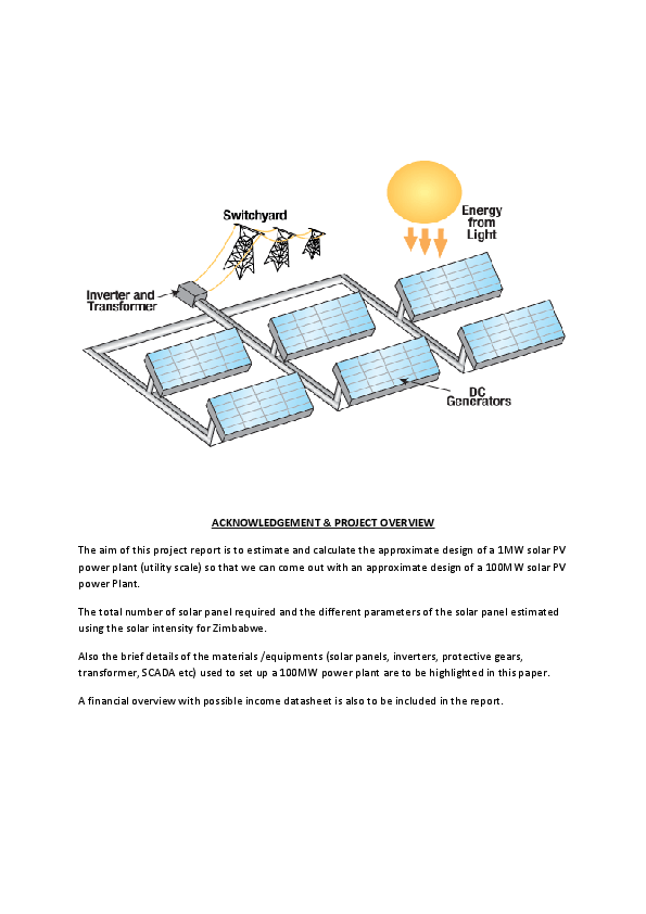 PDF) An Approximate DESIGN of a 100MW Solar Power Plant for Zimbabwe