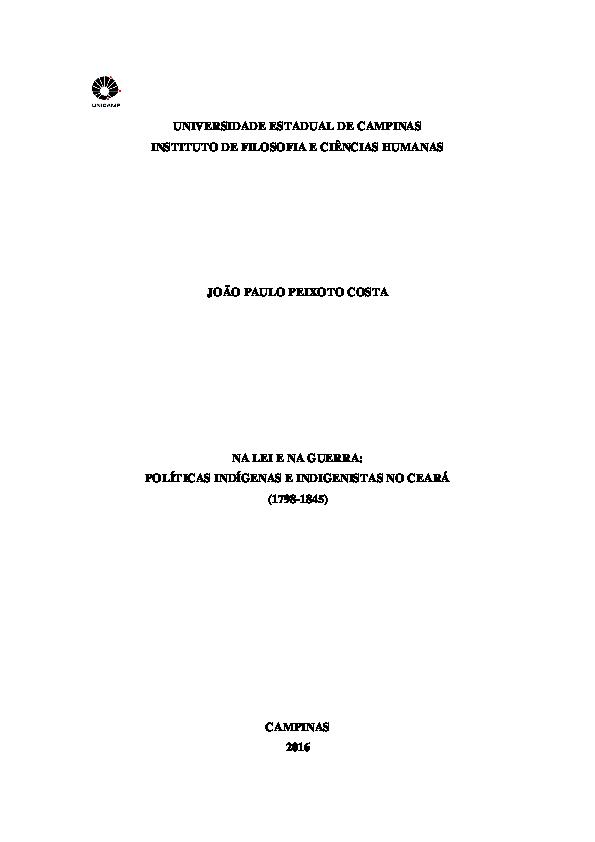 PDF) NA LEI E NA GUERRA: POLÍTICAS INDÍGENAS E INDIGENISTAS NO ...