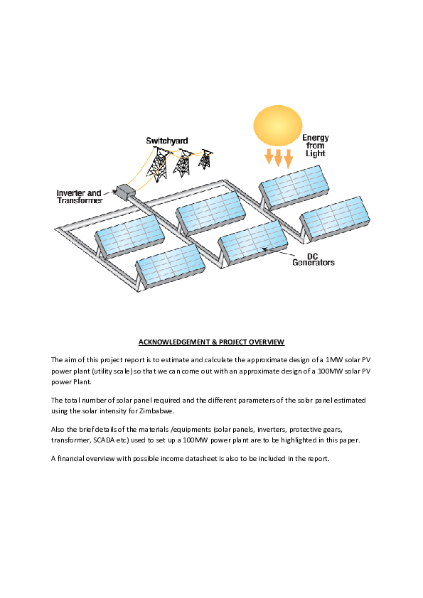 PDF) An approximate design of a 100MW solar power plant in