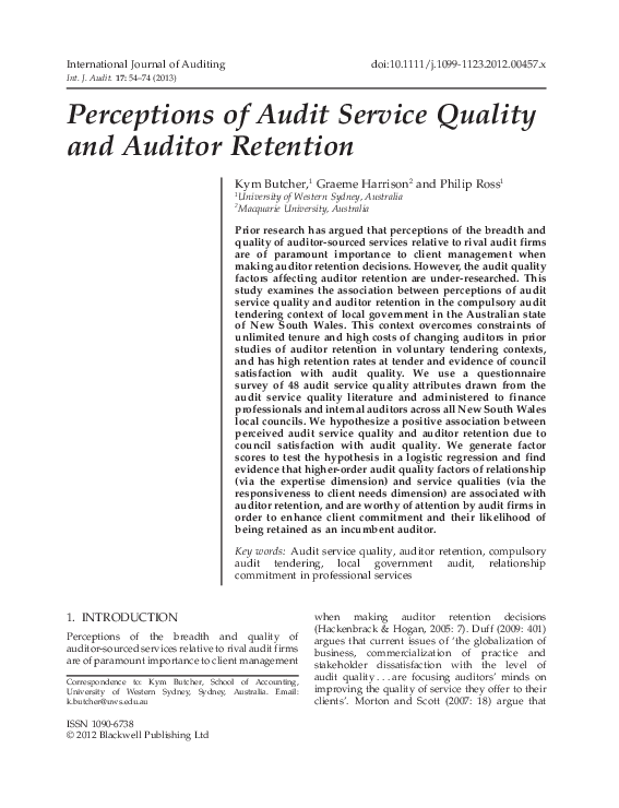 PDF) Perceptions of Audit Service Quality and Auditor