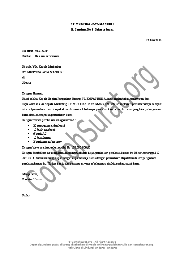 Doc Contoh Surat Balasan Penawaran Untuk Pembelian Barang 1