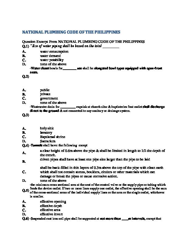 PDF) NATIONAL PLUMBING CODE OF THE PHILIPPINES   Saivan