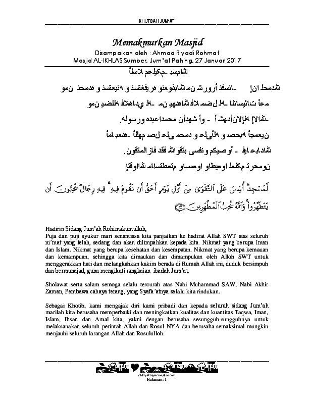 Pdf Khutbah Jum At Memakmurkan Masjid Ahmad Riyadi