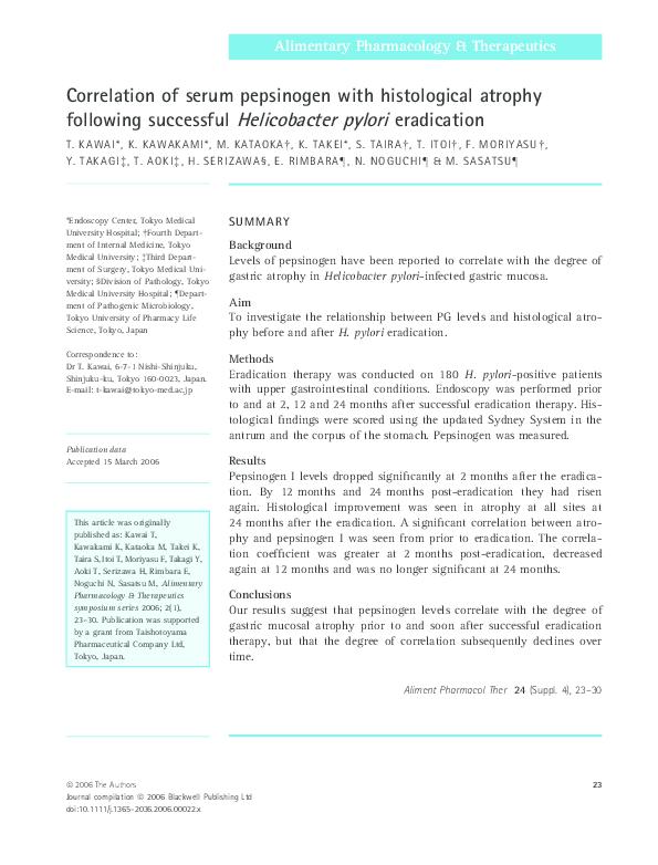 PDF) Correlation of serum pepsinogen with histological
