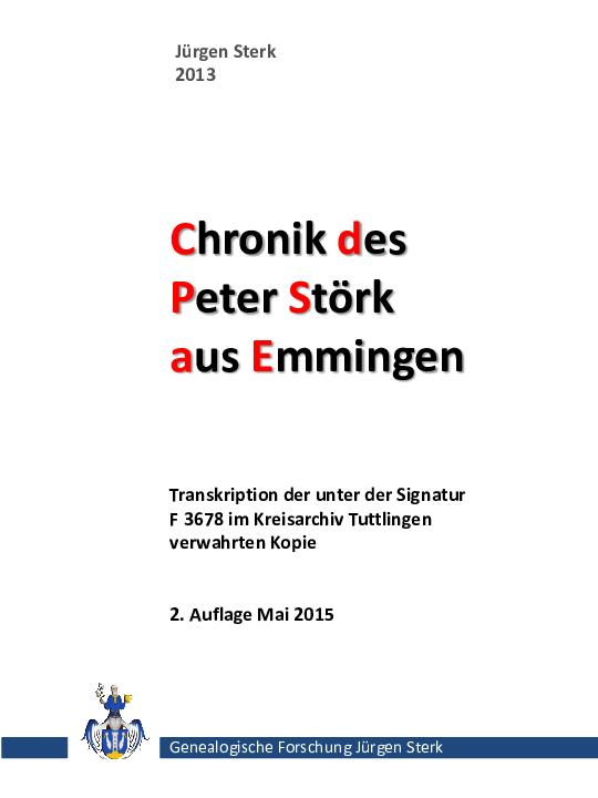 Pdf Chronik Des Peter Störk Aus Emmingen Ab Egg Juergen
