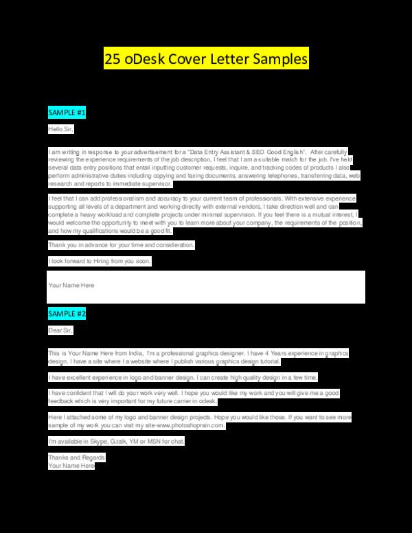PDF) 25 oDesk Cover Letter Samples SAMPLE #1 DATA ENTRY ...