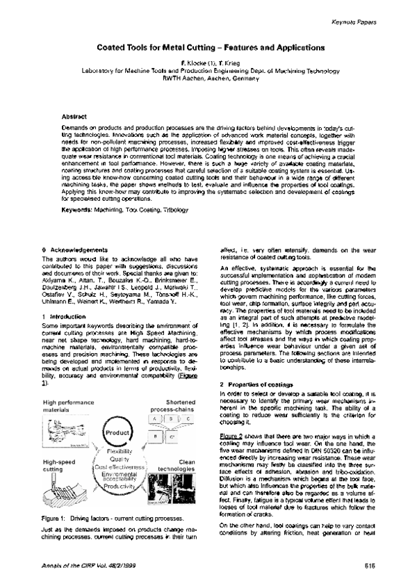 PDF) Coated Tools for Metal Cutting -Features and Applications