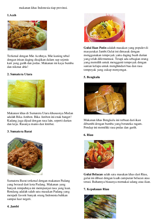 Pdf Makanan Khas Indonesia Tiap Provinsi Hikari Yuushina
