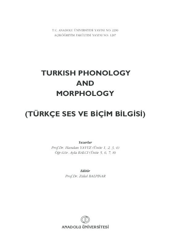 Pdf Turkish Phonology And Morphology Turkce Ses Ve B C M B Lg S