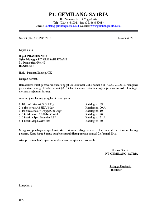 Doc Latihan Surat Niaga Dinda Amelia Academiaedu