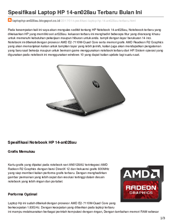 Pdf Spesifikasi Laptop Hp 14 An028au Terbaru Bulan Ini