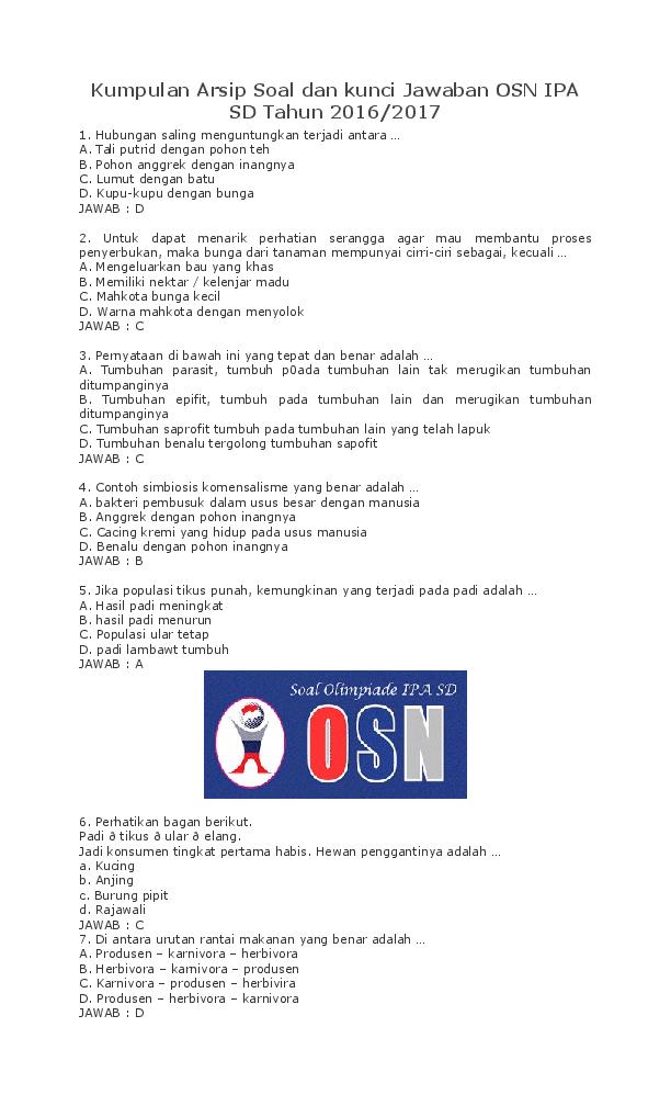 Doc Kumpulan Arsip Soal Dan Kunci Jawaban Osn Ipa Sd Tahun 2016 2017 Sdn 2 Karangsuwung Academia Edu